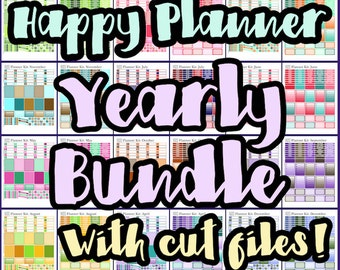 Happy Planner Stickers - Bundle - Yearly Planner Stickers - 24 Sheet Printable Bundle - Fits The Happy Planner - With Cut Files!