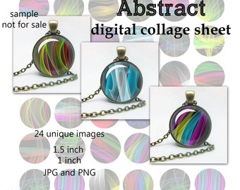 "Abstract Digital Digital Collage Sheet Circle Images for Glass Dome Bottle Caps cabochon abstraction Magnets Printables for Pendants 1.5"" 1"""
