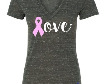 Breast Cancer Awareness Vneck. Strength Hope Courage Support. Faith Resolve Victory. Fighter Stronger. Health Lifestyle Prayer Blessing.