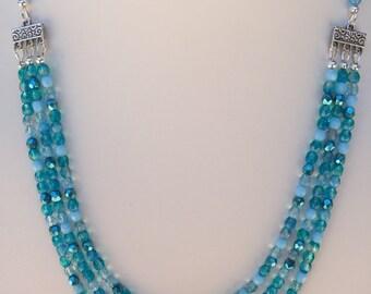Aqua Multi Strand Necklace
