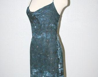 90s Asymmetrical Glitter Blue Turquoise Teal Party Mini Dress / Rave Clubbing Club Kid Clueless 90s Dress