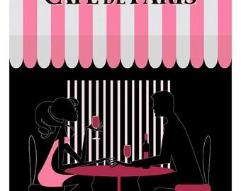 Wine for two - Paris Print, Paris Illustration, Art Deco, Wall Art, Poster Print, Paris Decor, Pink Paris, Love, Wine, Cafe Paris, Paris Art