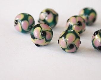 8 Lampwork Beads Round Glass Emerald Green Pink Pansy Floral size 12mm Hole 2.5mm