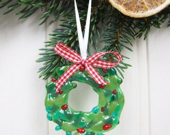 Handmade Fused Glass Wreath Tree Decoration / Bauble with Bow by Jessica Irena Smith