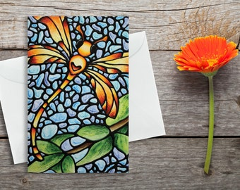 Dragonfly Card - Red & Yellow Dragonfly on Sky Blue Background - Greeting Card - Thank You Card - Anniversary Card - by Artist Kathy Lycka