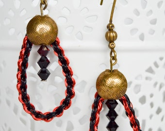 Drops earrings red and black