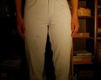 Vintage High-waisted White Denim Pants