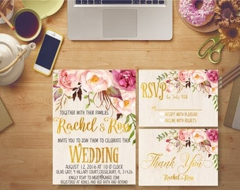 Rustic Wedding Invitation Printable Wooden Floral Peonies Gold Foil Flowers Bridal Print Digital Bridal Invites Kit Custom DIY - BS23