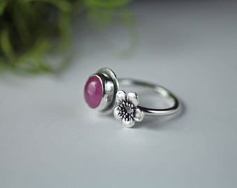 Pink ruby blossom ring - size 7 US adjustable