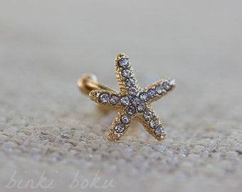 Starfish Ear Cuff, Gold Earcuff, Crystal Starfish Ear Cuff, Gold Starfish, Starfish Cuff Earring, Star Fish Earcuff, Gold Starfish Earcuff