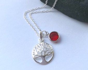 Sterling Silver Tree of Life Necklace - Birthstone Necklace - Personalized Necklace