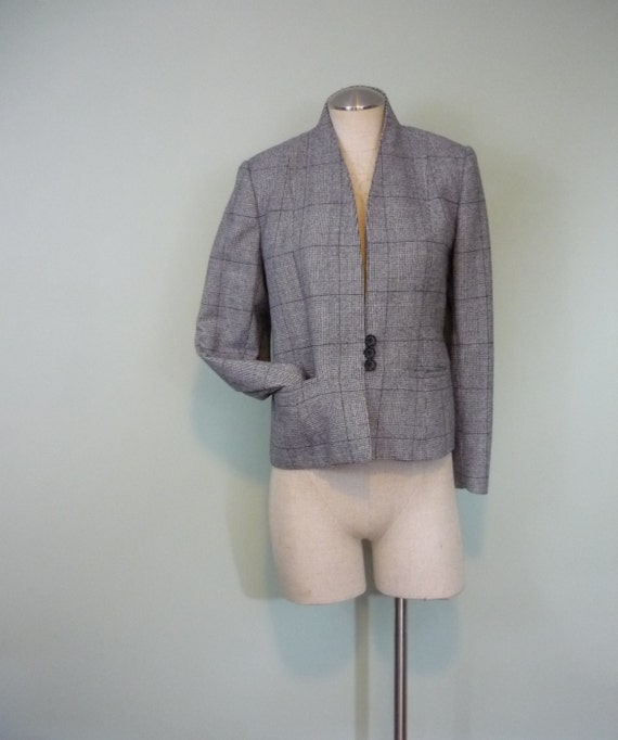 1980s Structured Blazer / Black and White Houndstooth, Glen Plaid / Three Button Jacket / Modern Size Large to Extra Large