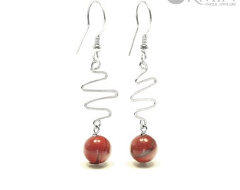 Red Jasper & Sterling Silver Drop Earrings 01177E, Red Jasper Jewelry, Boho Jewelry, Natural Gemstones Jewelry, Healing Crystals