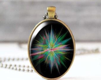 Supernova necklace, Bohemian jewelry, Oval glass dome photo necklace, Mystic fractal pendant, 5031-3