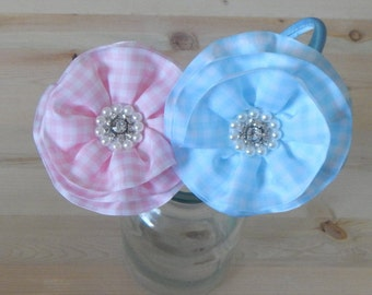 Check Ribbon Flower Headbad, Rhinestone Flower Headband, Pink Headband, Blue Headband, Hair Accessories