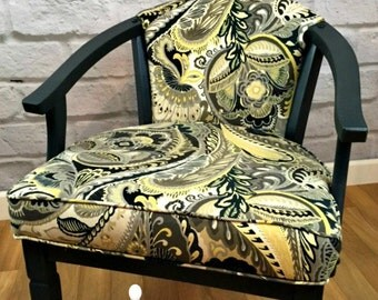 Vintage Modern Barrel Wood Side Upholstered Accent Chair Armchair