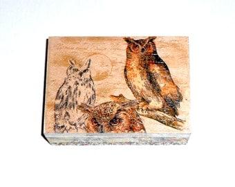 wooden box, owls print vintage style decoupage wooden box, jewerly box