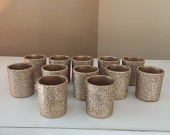 Champagne Gold Glitter votive candle holders, Set of 72 votive holders, candle holder, candle, wedding centerpiece, wedding decorations