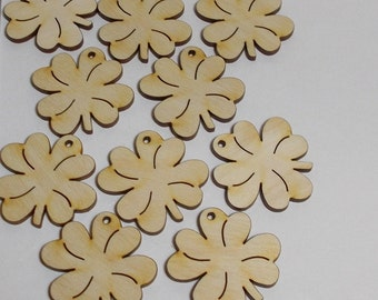 Clovers 10 pieces 4 cm, clover-leaf wooden gift tags giveaway DIY