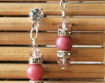 Rhodonite, Swarovski Crystal Drop Earrings
