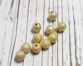 Stardust Beads, Brass Beads, Gold Foil Beads, Loose Beads, 10 mm Beads, Destash, Overstock, DIY - 10 pcs