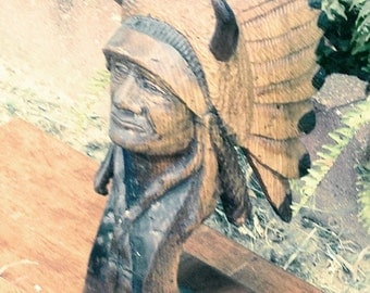 Handcarved Wooden Indian Chief