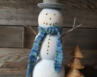 Wooden Antiqued Snowman