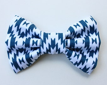 Blue Geometric Bow Tie