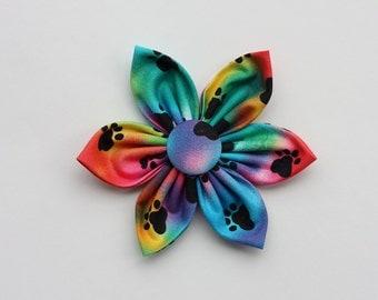 Tie Dye Paws Dog Collar Flower