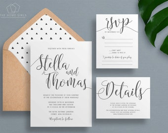 Wedding Invitation Suite Calligraphy | Save the Date | Grey | Thank You | Details | Custom | Invitation Set | Stella Suite