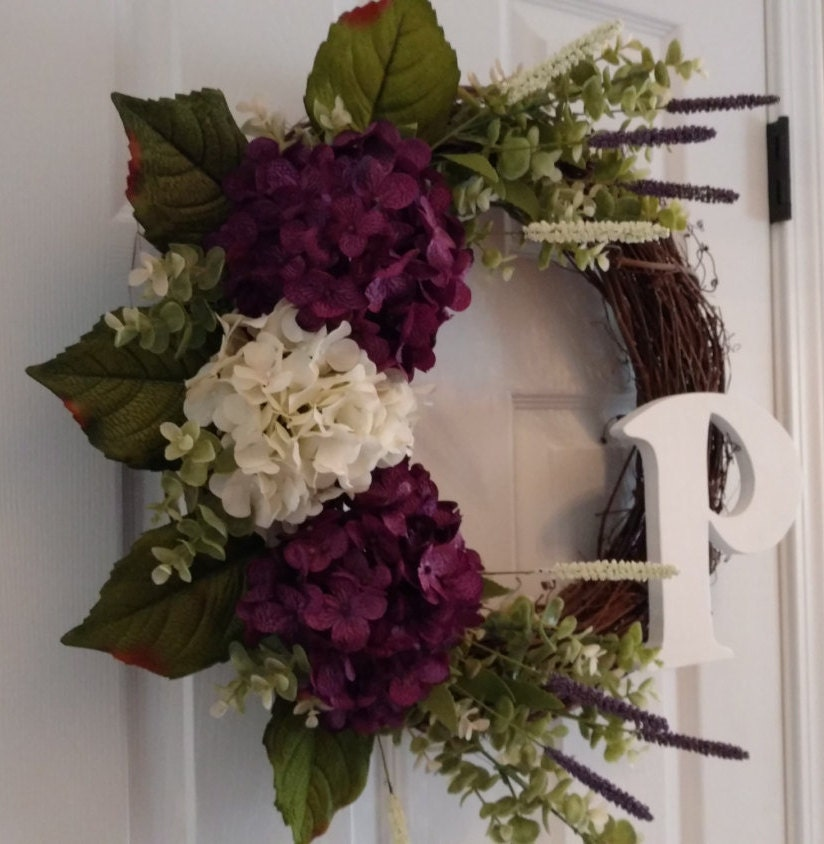 Plum Purple Hydrangea Wreath Spring Wreath Summer Wreath