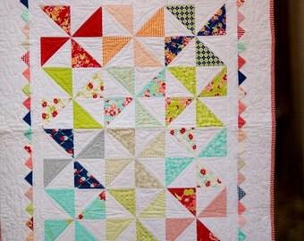 Pinwheel Baby Quilt, Baby Bedding, Miss Kate, Crib Quilt, Baby Girl Quilt, Modern Baby Bedding, Modern Baby Quilt, Modern Baby Blanket