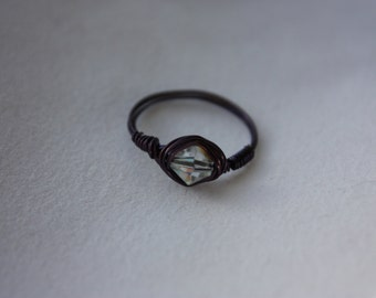 Purple Wire Spiral Ring with White Faceted Bead