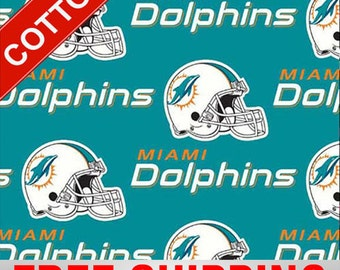 """Miami Dolphins Cotton Fabric NFL Style MIA-6459 60"""" Wide. Free Shipping"""