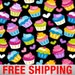 "Fleece Fabric Cupcakes Baking Blanket Fabric Style 3942 60"" Wide Free Shipping"