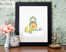 8 x 10 illustration of Matriochka and her children - Print art of watercolor - High print quality - Perfect for mother's day!