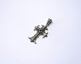 Cross pendant Garnet ornaments Sterling Silver 925
