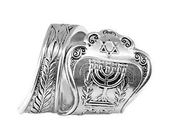 Israel Ring, Jewish Jewelry Ring, Hebrew Ring, Silver Israeli Ring, Jewish Star Ring, Antique Jewish Ring, Wraparound Ring, Menorah Ring