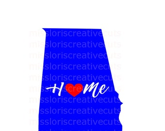 Home Love Heart Alabama  SVG Cut file  Cricut explore filescrapbook vinyl decal wood sign cricut cameo Commercial use