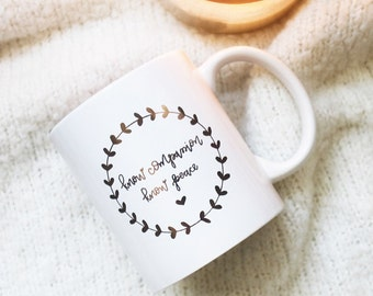 Know Compassion Know Peace / Reflective Gold / Hand Lettered Mug
