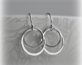 Double Hoop Earrings, Silver Hoop Earrings, Sterling Silver Circle Earrings, Silver Circle Earrings, Gift for Her, Bridesmaid Gift Blissaria