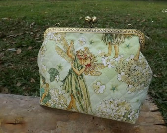 The Fairy & Flower Kisslock Frame bag, Angel Clasp Frame Purse, Shoulder Bag, Floral Sling Bag