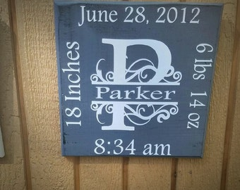 Wooden Birth Tiles 12x12 or 16x16 Your choice of colors and personalized to your names/dates.