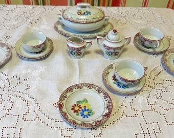 Vintage 1950s Children's Porcelain Tea Set