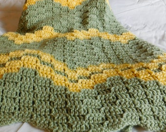 New - Handmade - Crochet - Blanket - Ready To Ship - Chevron Frosty Green with Lemon Yellow Accent Afghan
