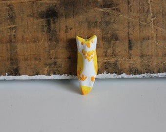 Painted clay owl pendant-yellow/light orange