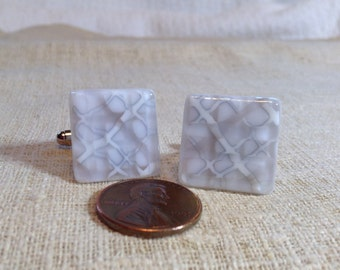 White and Grey Fused Glass Cuff Links