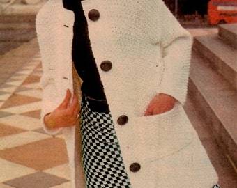 Vintage Knit Jacket Coat PATTERN,  Instant PDF Download, Double Crepe