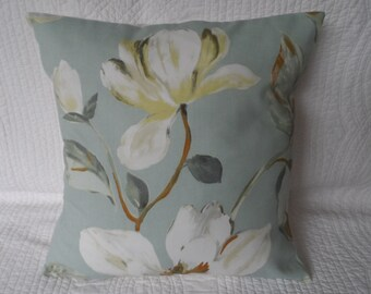 "16"" Cushion Cover Duck Egg Blue Cream Flower Print Shabby Chic Style New 40cm"