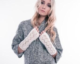 Knit fingerless gloves, Fingerless mittens, Fingerless gloves for women, Arm warmers Wrist Warmers Long White Hand knit Gloves, Gift for her